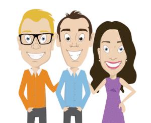 All three doctors as cartoons