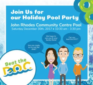 Pool Party invite at John Rhodes Community Centre Pool